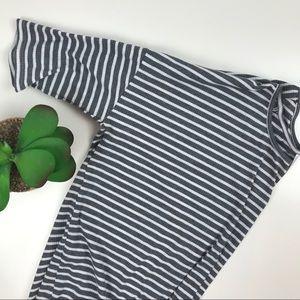 Agnes & Dora Dolman Tunic Top Gray Stripe XL